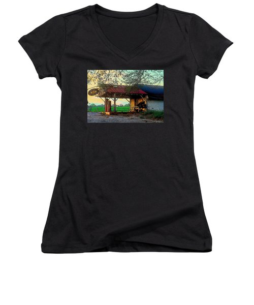 Women's V-Neck T-Shirt (Junior Cut) featuring the photograph Dixie Oil And Gasoline by Rodney Lee Williams