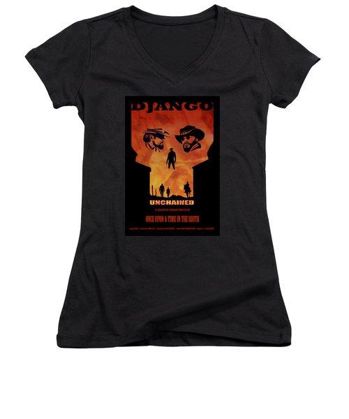 Django Unchained Alternative Poster Women's V-Neck (Athletic Fit)