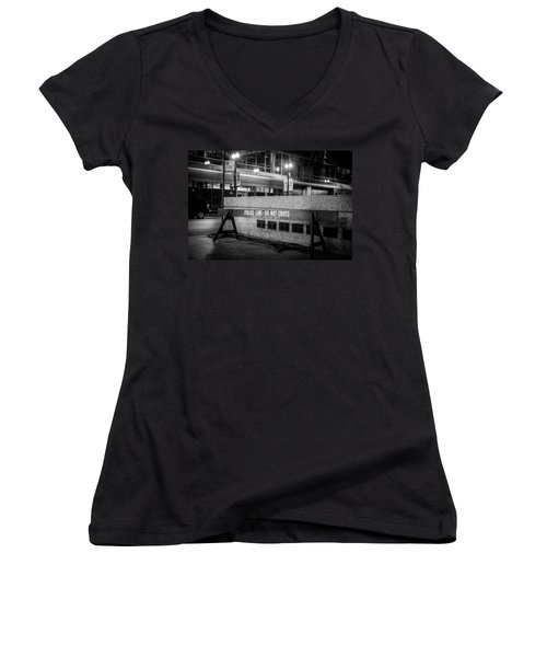 Do Not Cross Women's V-Neck T-Shirt (Junior Cut) by Melinda Ledsome