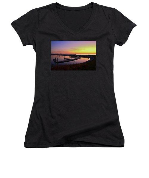 Docks At Sunrise Women's V-Neck T-Shirt (Junior Cut) by Jonah  Anderson