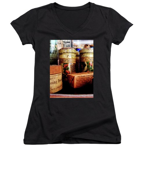 Women's V-Neck T-Shirt (Junior Cut) featuring the photograph Doctor - Liver Pills In General Store by Susan Savad