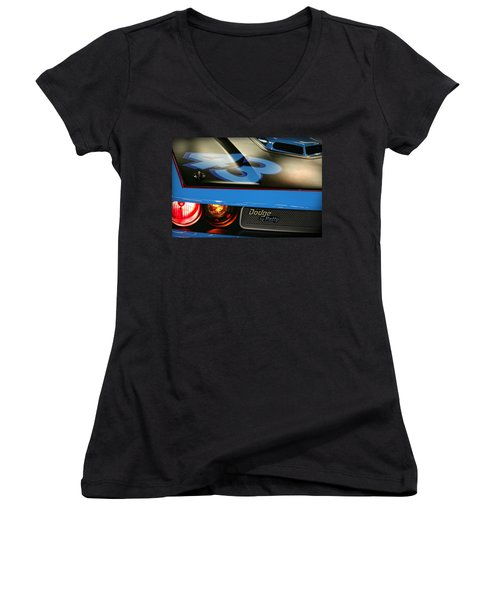 Women's V-Neck T-Shirt (Junior Cut) featuring the photograph Dodge By Petty by Gordon Dean II
