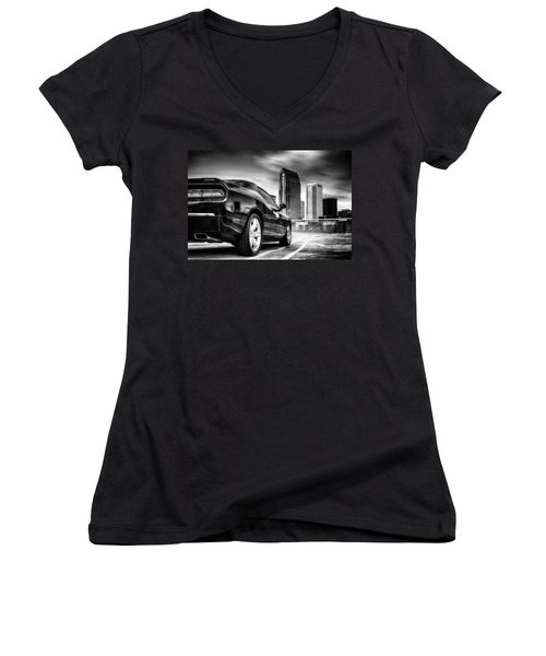 Dodge Challenger Tampa Skyline  Women's V-Neck T-Shirt
