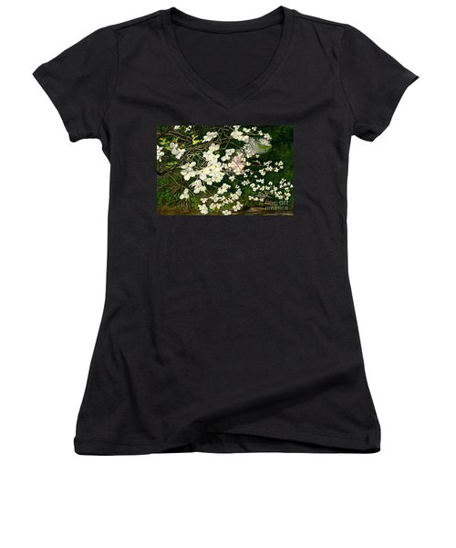 Women's V-Neck T-Shirt (Junior Cut) featuring the painting Dogwoods Virginia by Melly Terpening