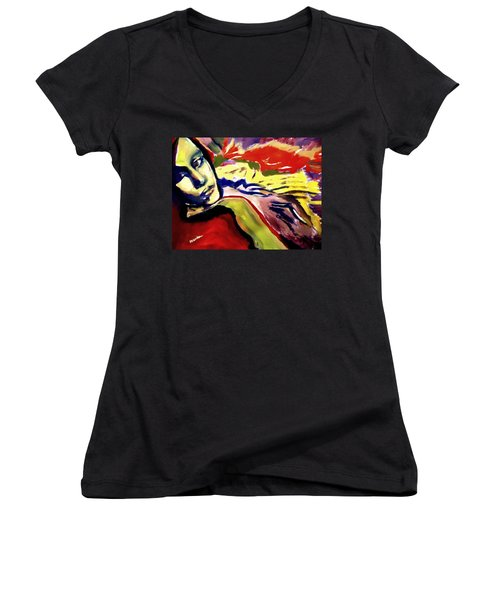 Women's V-Neck T-Shirt (Junior Cut) featuring the painting Don T Look Back by Helena Wierzbicki