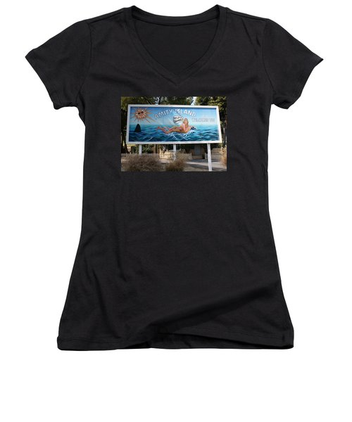 Don't Go In The Water Women's V-Neck T-Shirt (Junior Cut) by David Nicholls