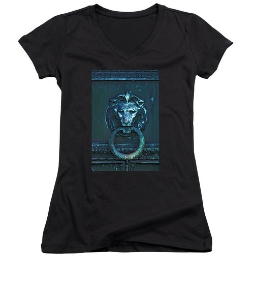 Door Knocker Women's V-Neck T-Shirt (Junior Cut) by Rowana Ray