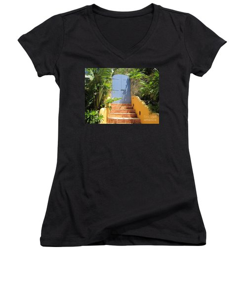 Doorway To Paradise Women's V-Neck T-Shirt (Junior Cut) by Fiona Kennard
