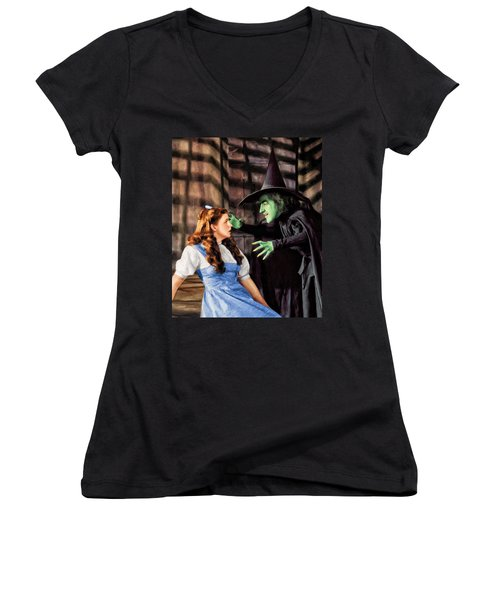 Dorothy And The Wicked Witch Women's V-Neck