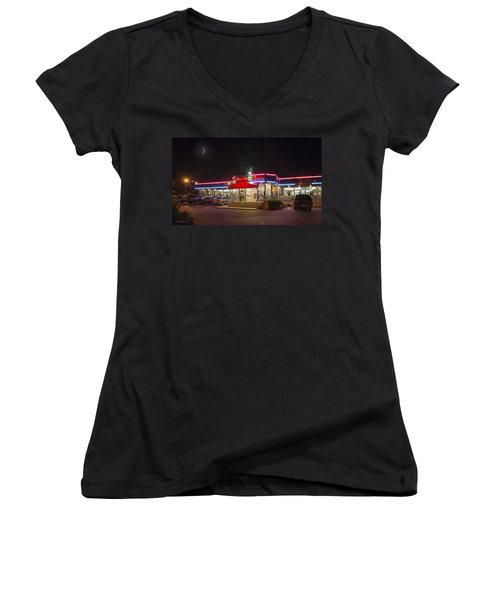 Double T Diner At Night Women's V-Neck T-Shirt