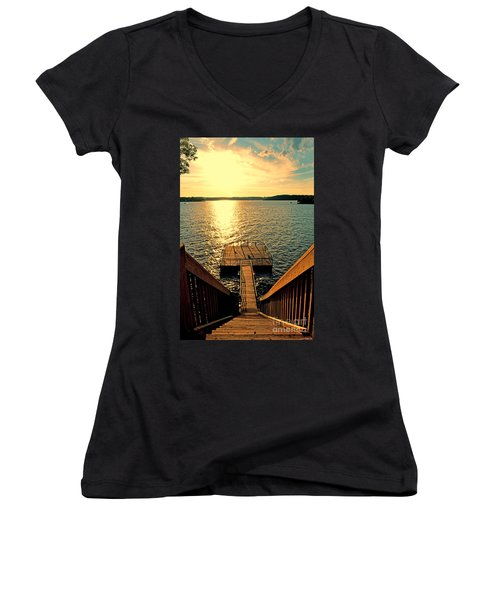 Down To The Fishing Dock - Lake Of The Ozarks Mo Women's V-Neck T-Shirt (Junior Cut) by Debbie Portwood