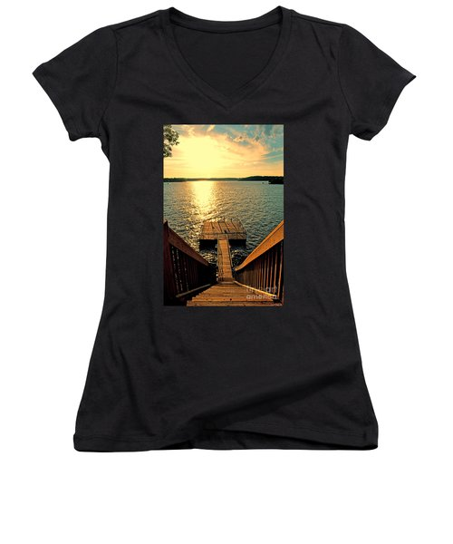 Down To The Fishing Dock - Lake Of The Ozarks Mo Women's V-Neck (Athletic Fit)