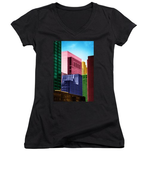 Downtown Building Blocks Women's V-Neck T-Shirt