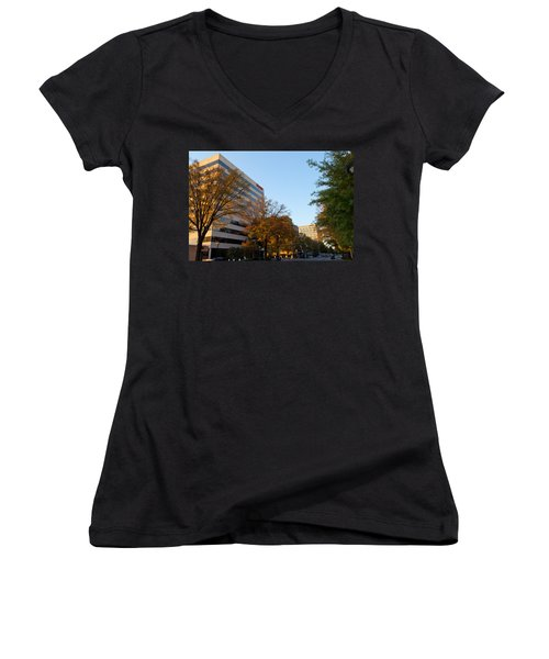 Downtown Chattanooga Women's V-Neck T-Shirt (Junior Cut) by Melinda Fawver