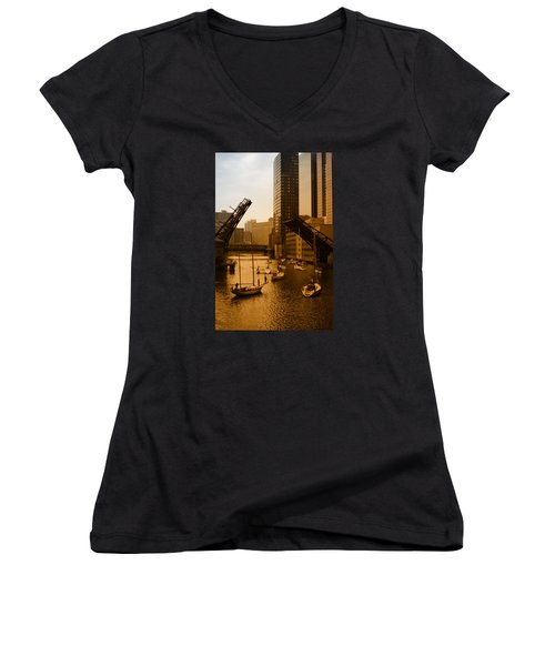 Downtown Chicago Women's V-Neck T-Shirt (Junior Cut) by Miguel Winterpacht