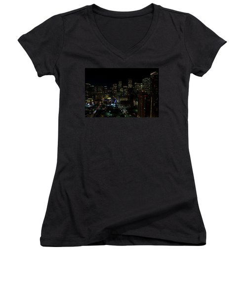 Downtown Houston At Night Women's V-Neck T-Shirt (Junior Cut) by Judy Vincent