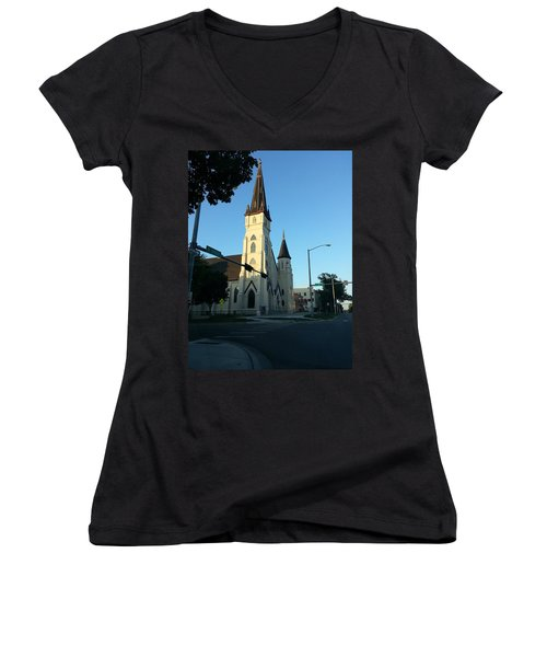 Downtown Worship Women's V-Neck T-Shirt (Junior Cut) by Caryl J Bohn