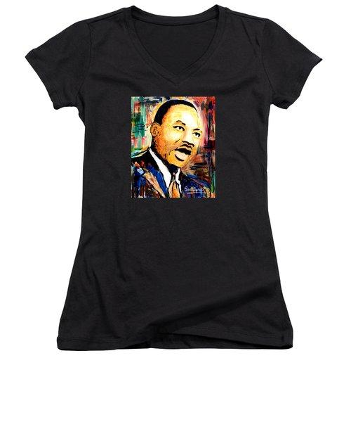 Dr. Martin Luther King Jr Women's V-Neck T-Shirt (Junior Cut) by Everett Spruill