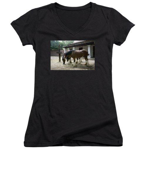 Women's V-Neck T-Shirt (Junior Cut) featuring the photograph Draft Horses by Lynn Palmer