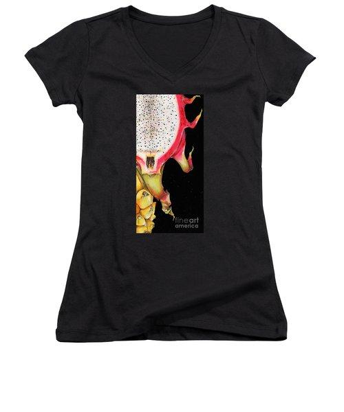 Women's V-Neck T-Shirt (Junior Cut) featuring the painting dragon fruit red and yellow -Elena Yakubovich by Elena Yakubovich