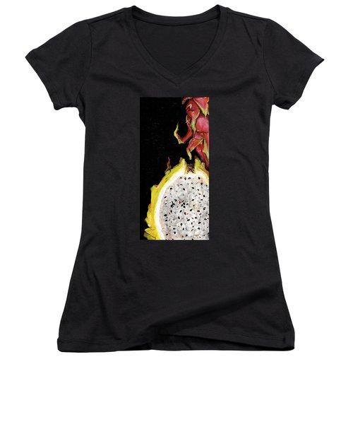 Women's V-Neck T-Shirt (Junior Cut) featuring the painting dragon fruit yellow and red Elena Yakubovich by Elena Yakubovich