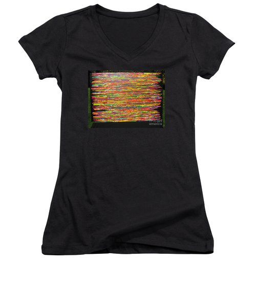 Women's V-Neck T-Shirt (Junior Cut) featuring the painting Drama by Jacqueline Athmann