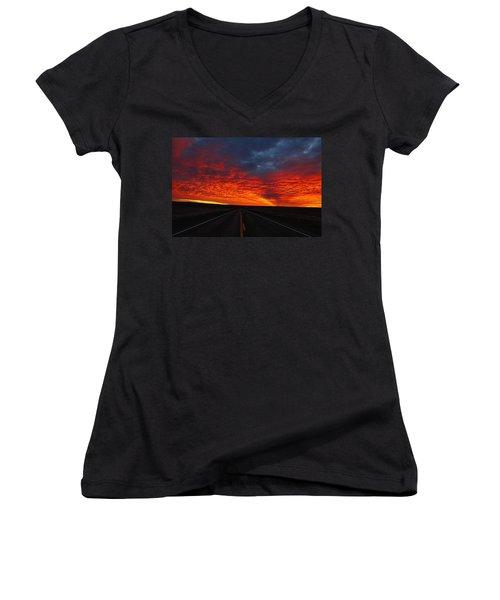 Women's V-Neck T-Shirt (Junior Cut) featuring the photograph Dramatic Sunrise by Lynn Hopwood