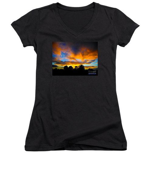 Dramatic Sunset Women's V-Neck T-Shirt (Junior Cut) by Mark Blauhoefer