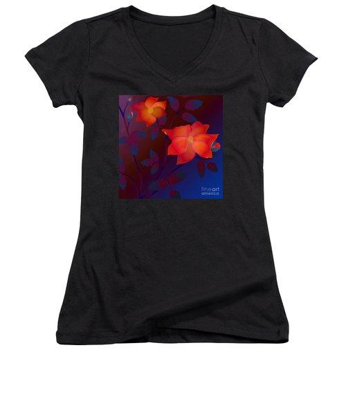 Dreaming Wild Roses Women's V-Neck T-Shirt (Junior Cut) by Latha Gokuldas Panicker