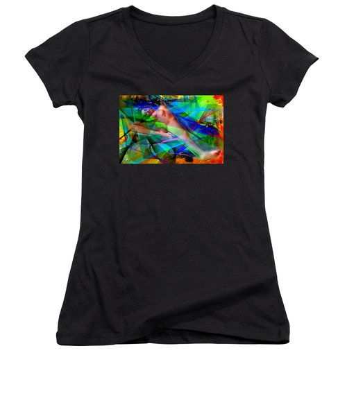 Women's V-Neck T-Shirt (Junior Cut) featuring the digital art Dreams In Color by Rafael Salazar