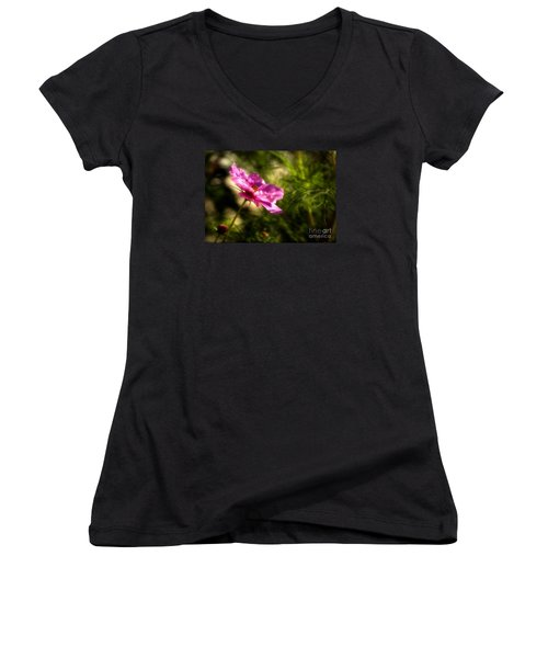 Women's V-Neck T-Shirt (Junior Cut) featuring the photograph Dreamy Pink Comos by Marjorie Imbeau