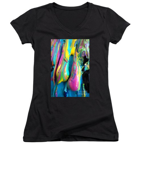 Dripping Paint #3 Women's V-Neck (Athletic Fit)