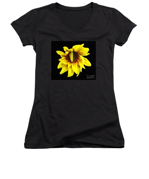 Women's V-Neck T-Shirt (Junior Cut) featuring the photograph Droops Sunflower With Oil Painting Effect by Rose Santuci-Sofranko
