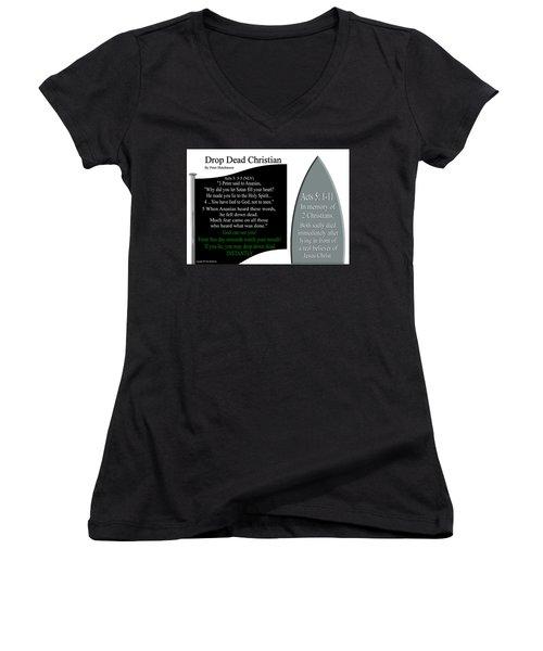 Drop Dead Christian Women's V-Neck T-Shirt