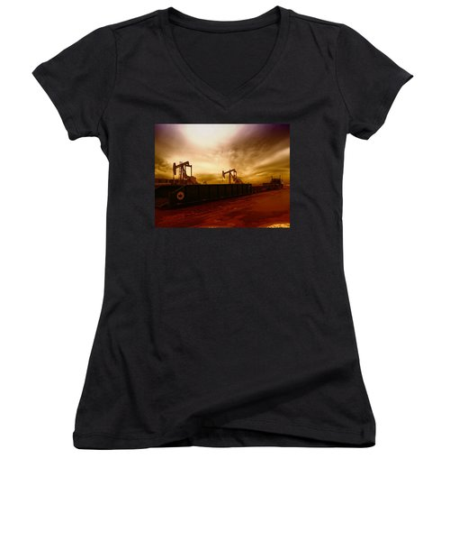 Dropping A Tank Women's V-Neck T-Shirt (Junior Cut) by Jeff Swan