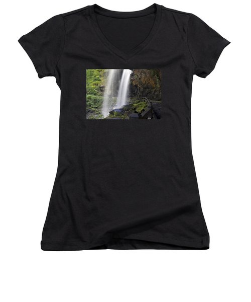 Dry Falls North Carolina Women's V-Neck T-Shirt (Junior Cut) by Charles Beeler