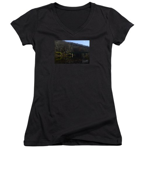 Women's V-Neck T-Shirt (Junior Cut) featuring the photograph Dry Fork At Jenningston by Randy Bodkins