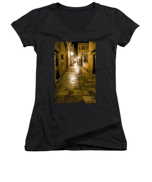 Dubrovnik Streets At Night Women's V-Neck (Athletic Fit)