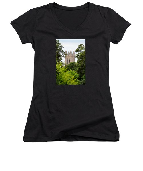 Duke Chapel Women's V-Neck T-Shirt (Junior Cut) by Cynthia Guinn