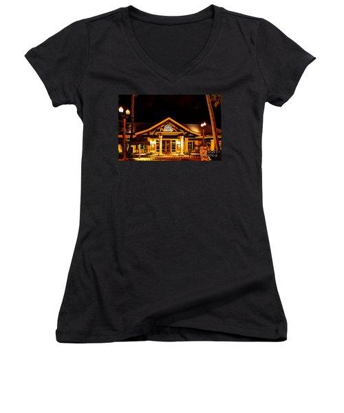 Duke's Restaurant Front - Huntington Beach Women's V-Neck T-Shirt (Junior Cut) by Jim Carrell