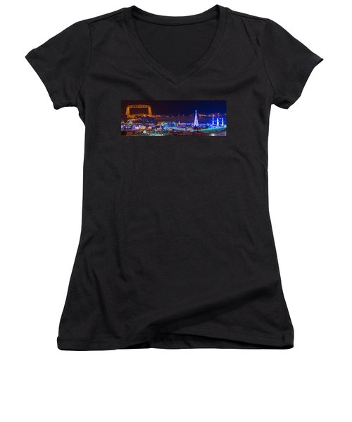 Duluth Christmas Lights Women's V-Neck T-Shirt (Junior Cut) by Paul Freidlund
