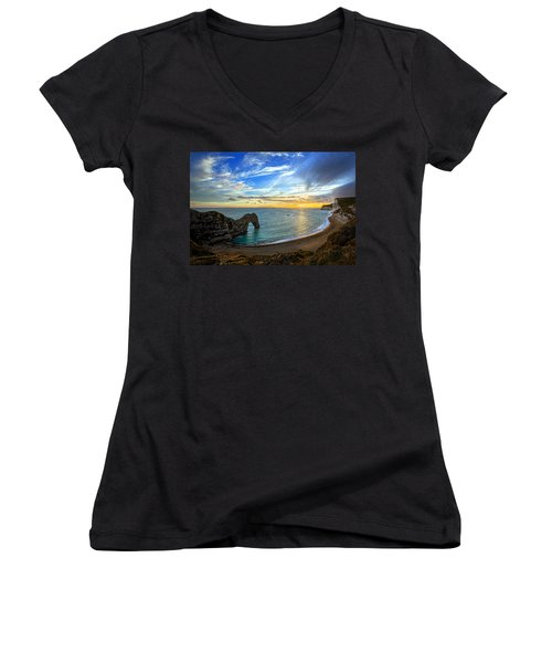 Durdle Door Sunset Women's V-Neck T-Shirt