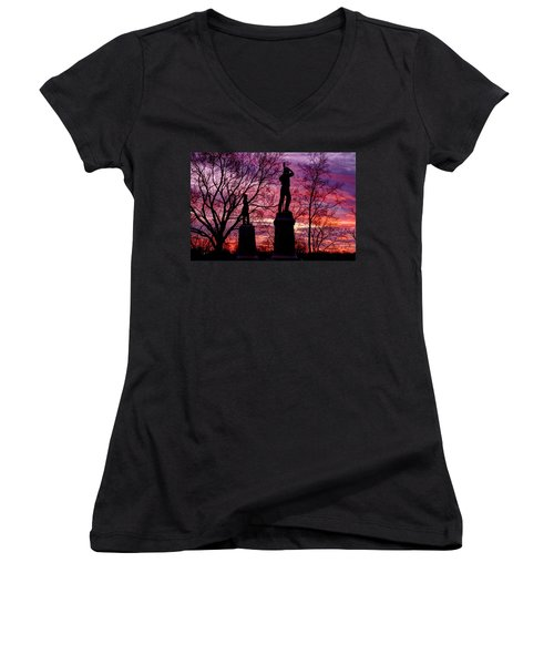 Women's V-Neck T-Shirt (Junior Cut) featuring the photograph Durell's Independent Battery D And 48th Pa Volunteer Infantry-a1 Sunset Antietam by Michael Mazaika