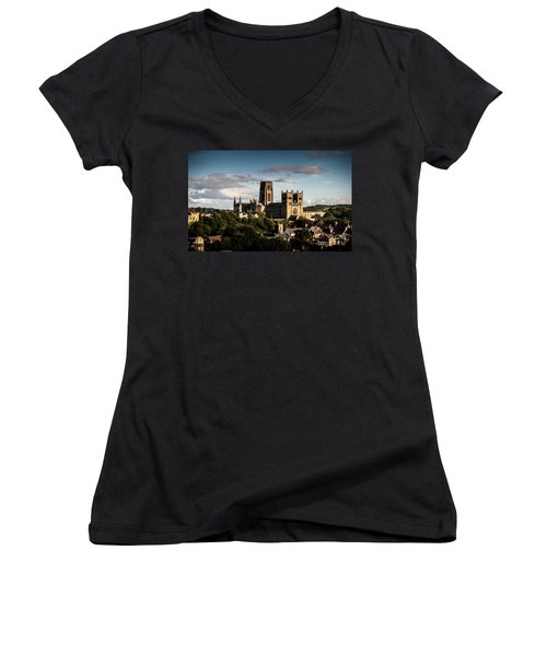 Women's V-Neck T-Shirt (Junior Cut) featuring the photograph Durham Cathedral by Matt Malloy