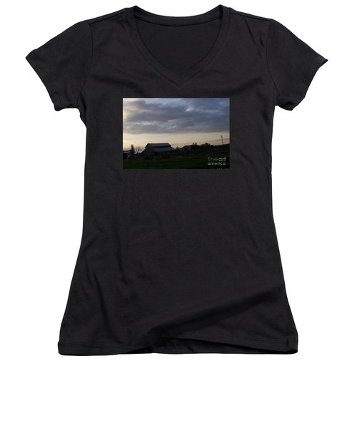 Women's V-Neck T-Shirt (Junior Cut) featuring the photograph Dusk Til Dawn by Bobbee Rickard