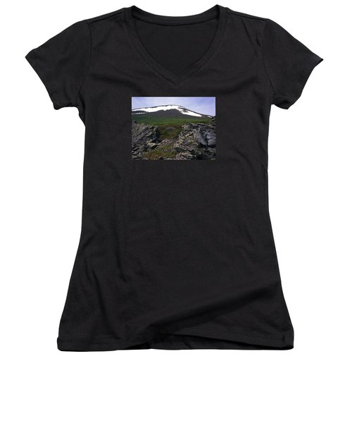 Women's V-Neck T-Shirt (Junior Cut) featuring the photograph Dyatlov's Pass by Vladimir Kholostykh