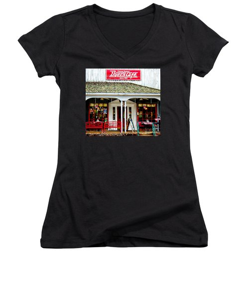 Dyer's Cafe Memphis  Women's V-Neck T-Shirt (Junior Cut) by Barbara Chichester