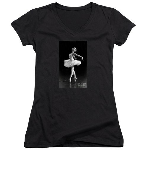 Dying Swan I. Women's V-Neck T-Shirt (Junior Cut) by Clare Bambers