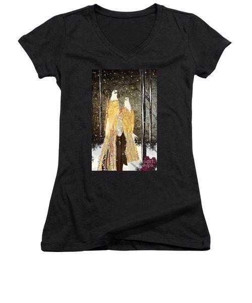 Winter Dress Women's V-Neck T-Shirt (Junior Cut) by Kim Prowse