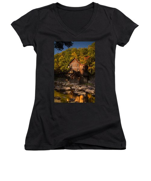 Early Autumn At Glade Creek Grist Mill Women's V-Neck T-Shirt (Junior Cut)